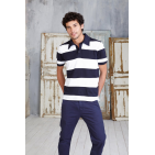 KARIBAN RAY SEWN STRIPE BI-COLOUR POLO SHIRT